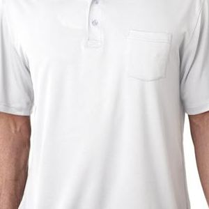 8405P UltraClub® Adult Cool & Dry Sport Mesh Performance Polo with Pocket  - 8405P-White