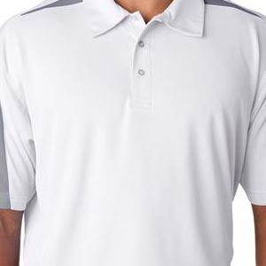 8408 UltraClub® Adult Cool & Dry Sport Mesh Performance Polo  - 8408-White/ Grey
