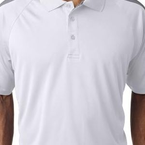 8409 UltraClub® Adult Cool & Dry Sport Shoulder Block Mesh Performance Polo  - 8409-White/ Grey