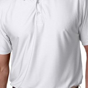 8413 UltraClub® Adult Cool & Dry Elite Tonal Stripe Performance Polo  - 8413-White