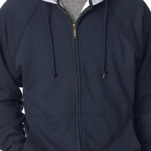 8463 UltraClub® Adult Rugged Wear Thermal-Lined Full-Zip Jacket  - 8463-Navy/ Heather Grey Hood