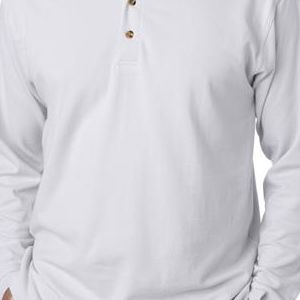 8532 UltraClub® Adult Long-Sleeve Classic Pique Cotton Polo  - 8532-White