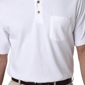 8534 UltraClub® Adult Classic Pique Cotton Polo with Pocket  - 8534-White