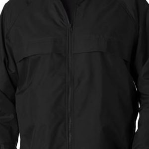 8929 UltraClub® Adult Hooded Nylon Zip-Front Pack-Away Jacket  - 8929-Black