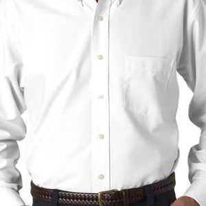8970 UltraClub® Men's Classic Wrinkle-Free Blend Long-Sleeve Oxford Woven Shirt  - 8970-White