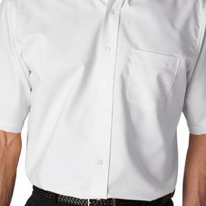 8972T UltraClub® Men's Tall Classic Wrinkle-Free Blended Short-Sleeve Oxford Woven Shirt  - 8972T-White