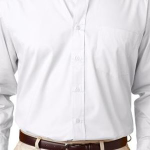 8975 UltraClub® Men's Whisper Twill Blend Woven Shirt  - 8975-White