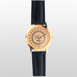 Gold Watch with Etched Medallion Face & Black Padded Leather Band