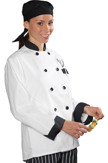 CLASSIC 10 BLACK BUTTON CHEF COAT WITH BLACK TRIM