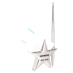 Metal Star Business Card Holder with Pen