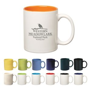 11 Oz. Colored Stoneware Mug With C-Handle -