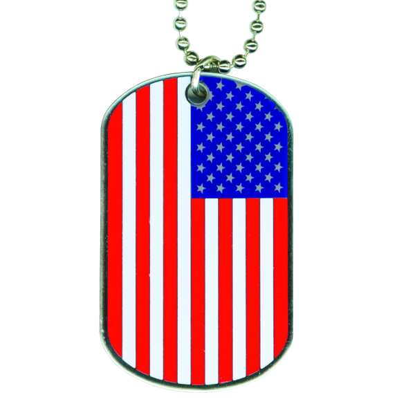 "Dog tag key chain - Dog tag with chain, 2 1/8"" x 1 1/8"", with a 30"" ball chain."