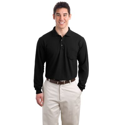 Port Authority 174  Tall Silk Touch153 Long Sleeve Polo with Pocket. TLK500LSP -