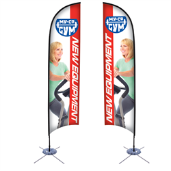 13' Razor Sail Sign Kit Double-Sided w/Scissor Base -