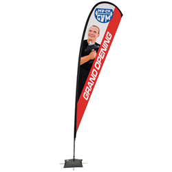 15' Tear Drop Sail Sign Kit Single-Sided w/Scissor Base -